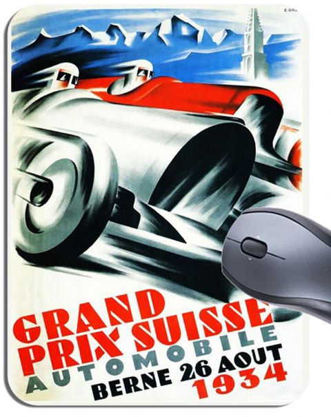 Swiss 1934 Grand Prix Poster Poster Mouse Mat. Art Deco Berne 1934 Mouse Pad